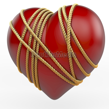 red shiny heart bound by a