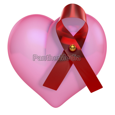 pink shiny heart with hiv bow