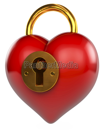 red shiny heart in shape of