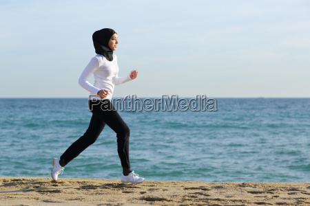arab saudi runner woman running on