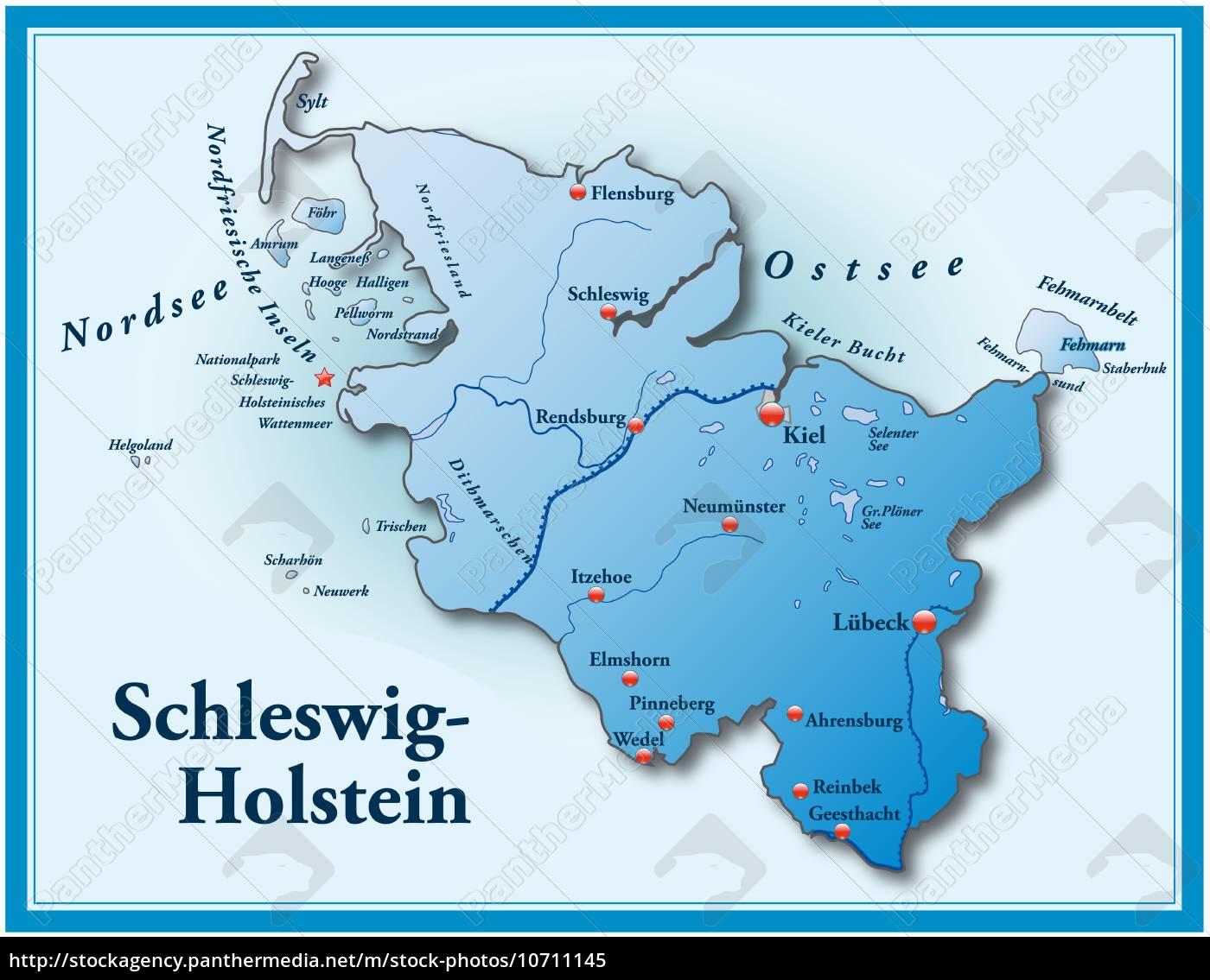 Schleswig Holstein Karte.Lizenzfreies Bild 10711145 Karte Von Schleswig Holstein Als übersichtskarte In Blau