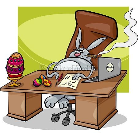 easter bunny businessman cartoon