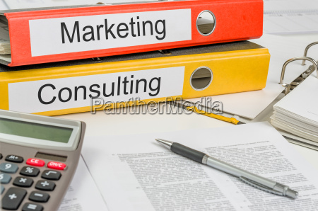 file folder labeled marketing and consulting