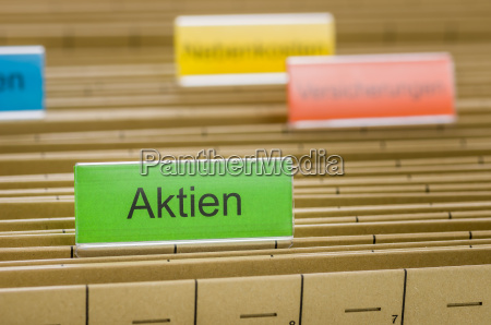 hanging folders with the inscription stock