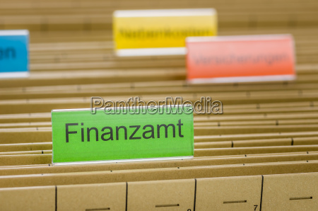 hanging folders labeled tax office