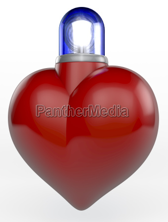 red shiny heart with ambulance flash