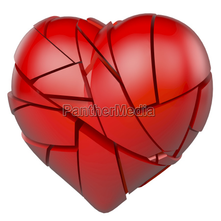red broken heart shattered to pieces