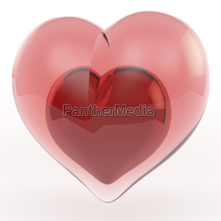 pink reddish glass heart with a