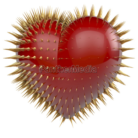 red glossy heart with golden spikes