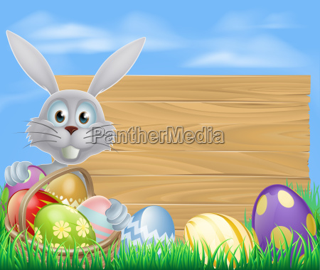happy easter bunny and chocolate eggs