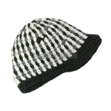 gehäkelte, mütze, in, schwarz-weiß, mit, schirm - 10774817