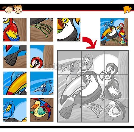 cartoon birds jigsaw puzzle game