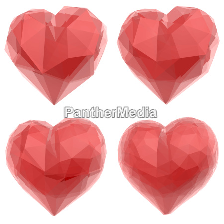 four abstract red heart objects in
