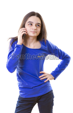 teenager girl talking on smart phone
