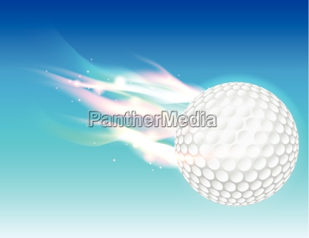 flaming golf ball in sky