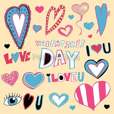 valentinstag doodles
