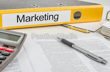 aktenordner mit der beschriftung marketing