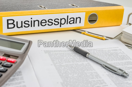 file folders labeled business plan