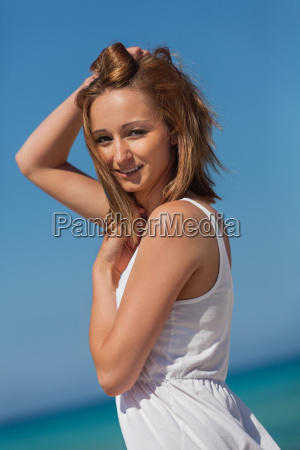 young attractive happy blond woman in