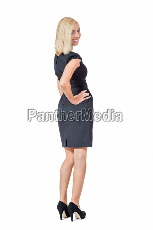 young blond thoughtful businesswoman