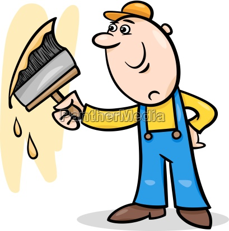 worker with brush cartoon illustration