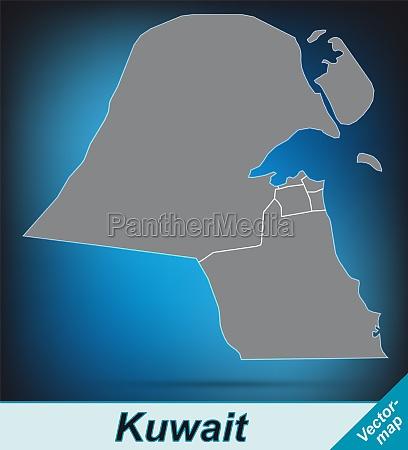 karte von kuwait mit grenzen in