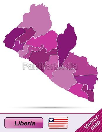 karte von liberia mit grenzen in