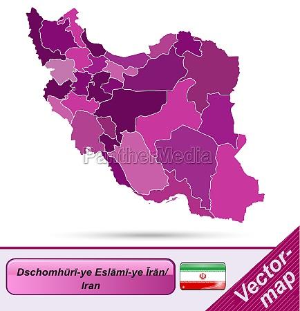karte von iran mit grenzen in