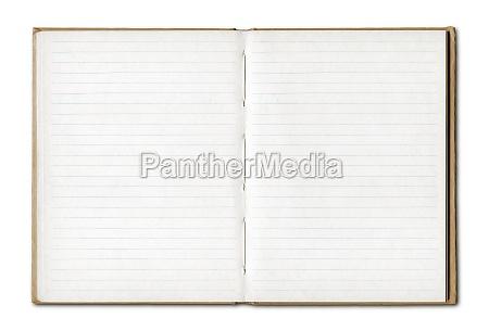 jahrgang leere offene notebook