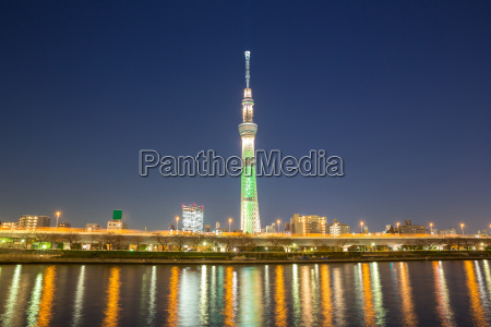 turm baum nacht nachtzeit skyline japan
