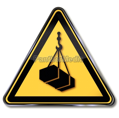 warning sign warning of suspended load