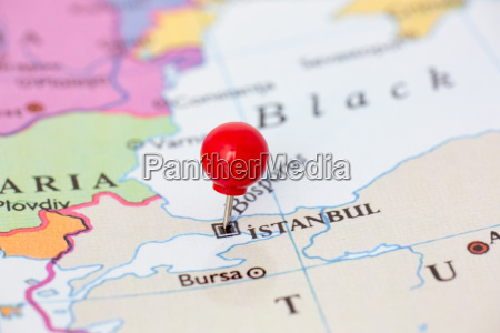 red pushpin on map of turkey