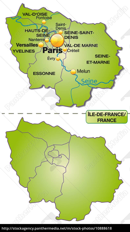 Karte Von Ile De France Mit Grenzen In Grun Stock Photo 10888618 Bildagentur Panthermedia