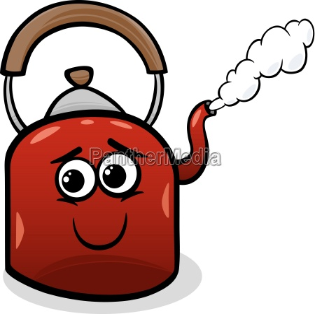 kettle and steam cartoon illustration