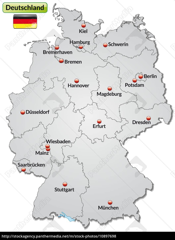 Karte Von Deutschland Mit Hauptstadten In Grau Stockfoto