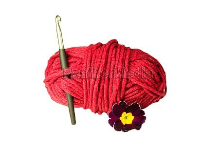 ball of wool crochet hook flower