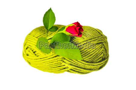 wool ball with moss florets