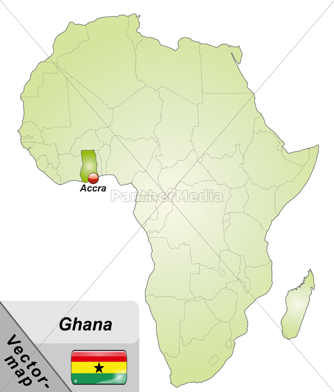Ghana Karte.Stock Bild 10898638 Karte Von Ghana Mit Hauptstadten In Grun