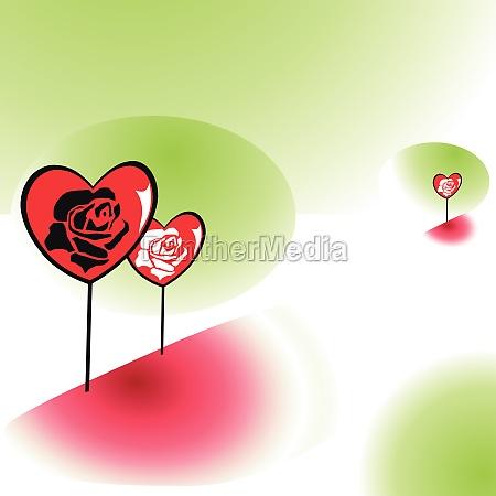 herzen mit rosenblueten