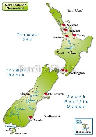 karte von neuseeland als infografik in