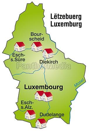 karte von luxemburg als infografik in