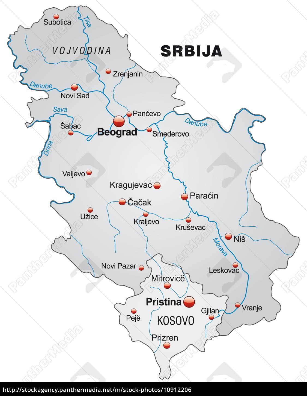 Karte Von Serbien Als Ubersichtskarte In Grau Stockfoto
