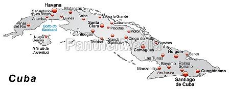 karte von kuba als UEbersichtskarte in