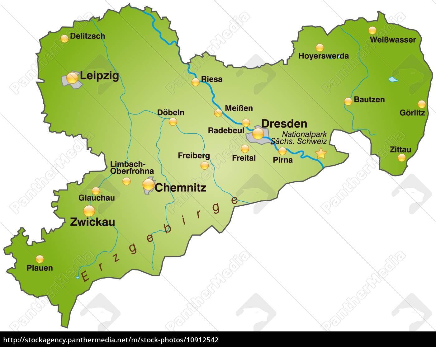 Karte Von Sachsen Als Ubersichtskarte In Grun Stockfoto