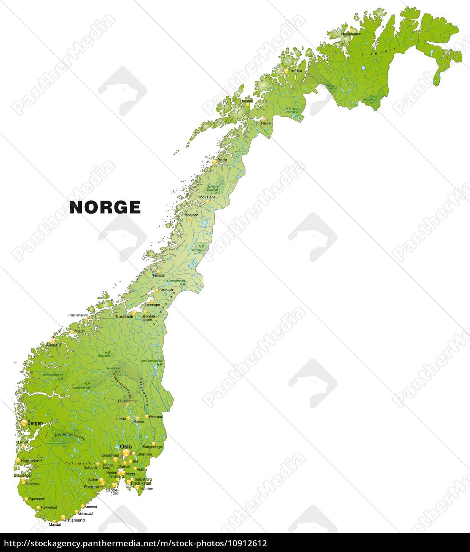 Karte Norwegen.Lizenzfreies Foto 10912612 Karte Von Norwegen Als Ubersichtskarte In Grun