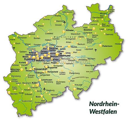 karte von nordrhein westfalen als UEbersichtskarte