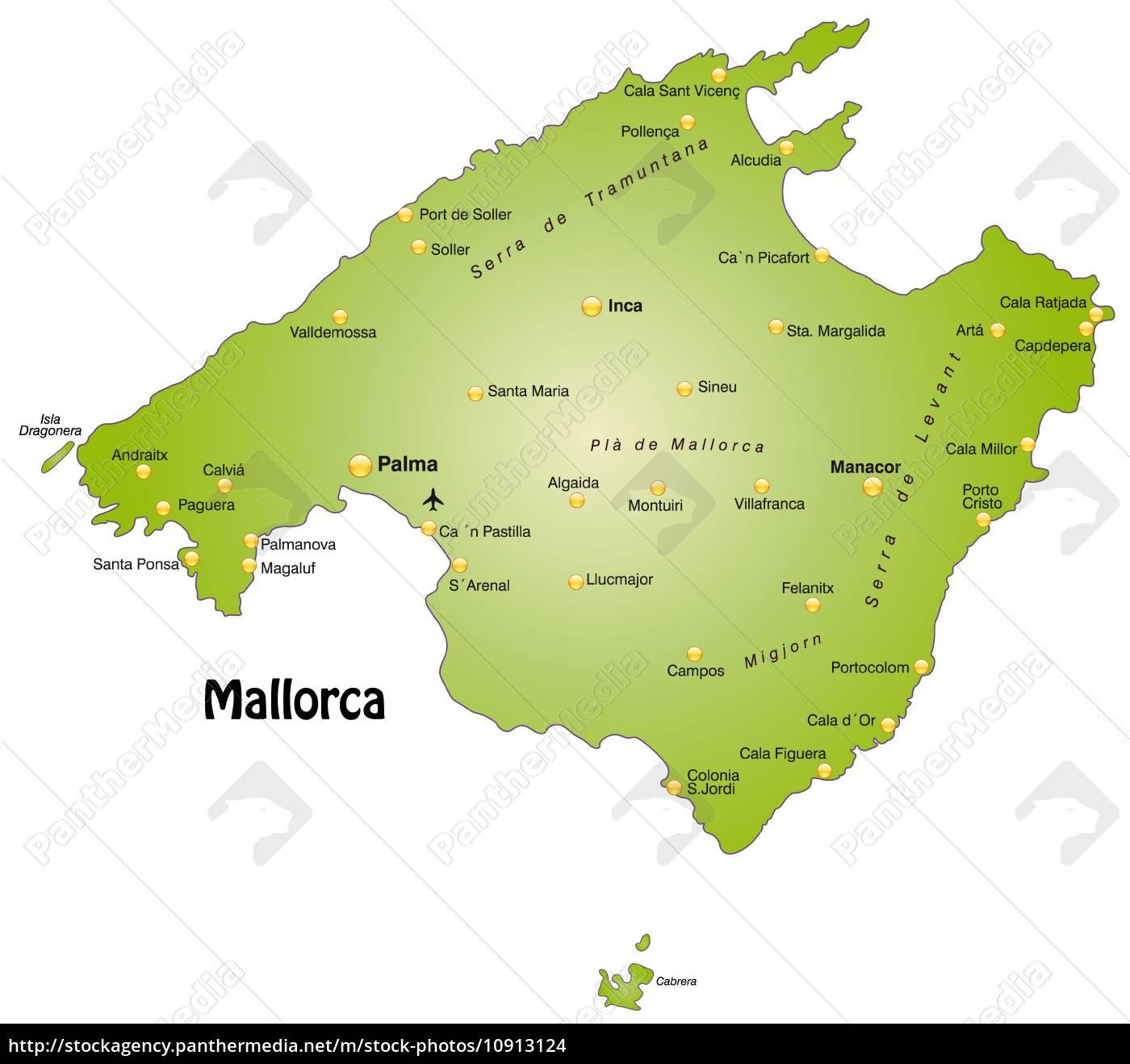 Lizenzfreies Foto 10913124 - Karte von Mallorca als Übersichtskarte in Grün