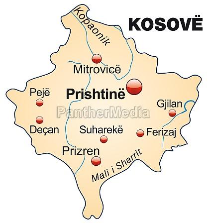 karte von kosovo als UEbersichtskarte in