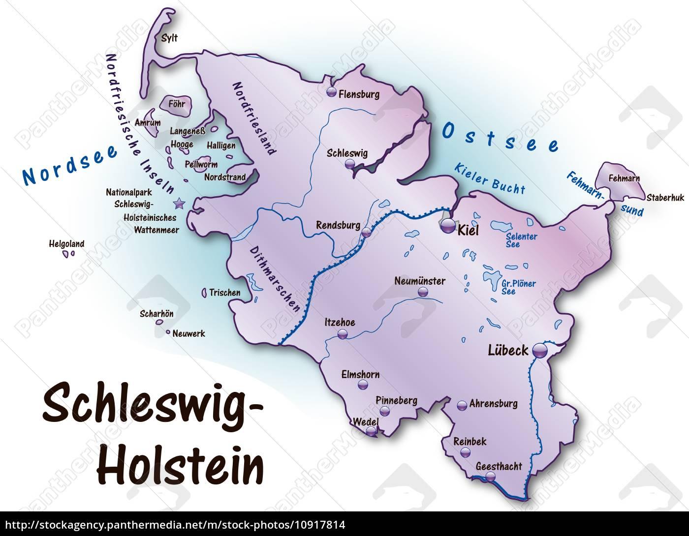 Karte Von Schleswig Holstein Als Ubersichtskarte In Stock Photo 10917814 Bildagentur Panthermedia