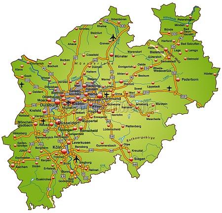 karte von nordrhein westfalen mit verkehrsnetz